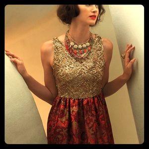 Anthropologie Wren XS Gold Shimmer Dress